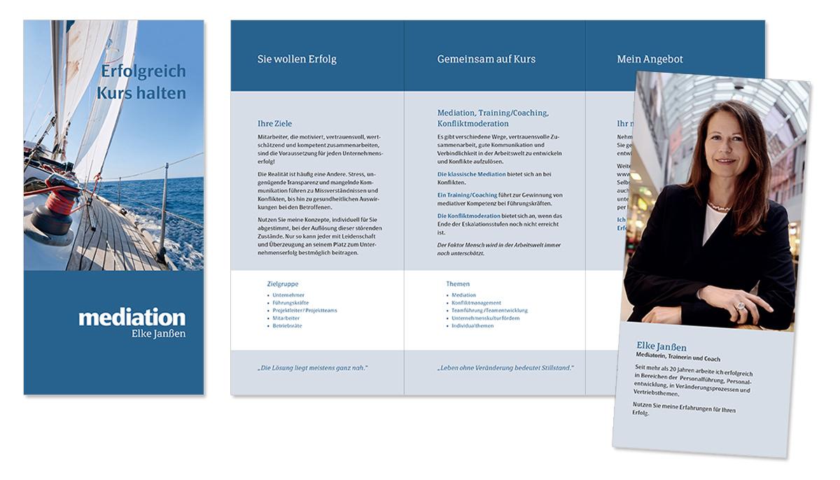 Flyerdesign, Faltblatt, Broschüre für Mediation Elke Janßen von Doris Peiter