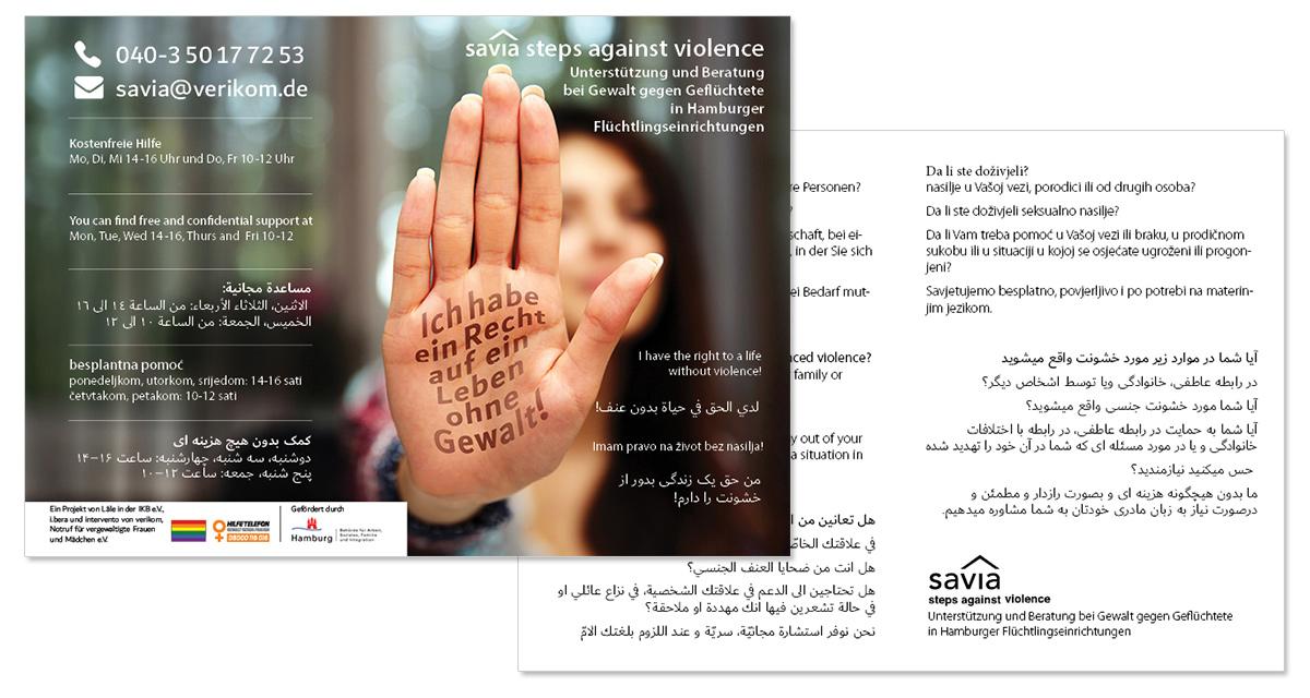 savia Flyer für Hilfeangebot