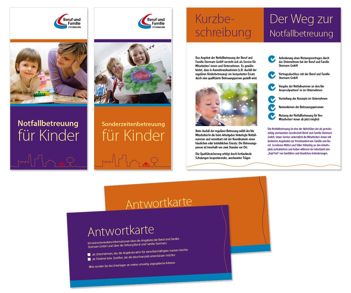 Flyerdesign, Faltblatt, Broschüre für die Stormarn Stiftung Beruf und Familie von Doris Peiter