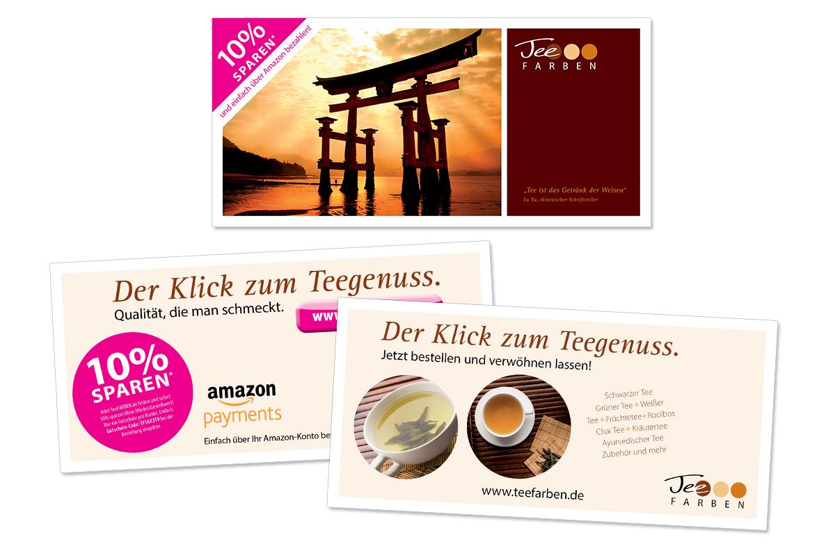 Flyerdesign, Faltblatt, Broschüre für TeeFARBEN von Doris Peiter