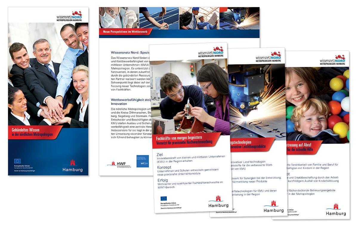 Flyerdesign, Faltblatt, Broschüre für das WissensnetzNord von Doris Peiter
