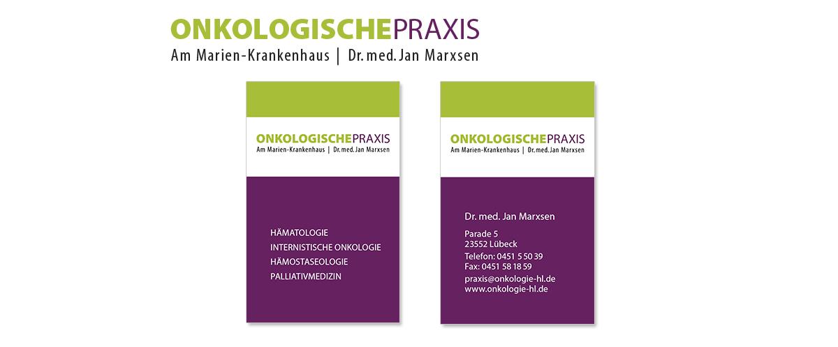 Geschäftsaustattung und Unternehmensdesign für Dr. Marxsen Onkologische Praxis von Doris Peiter