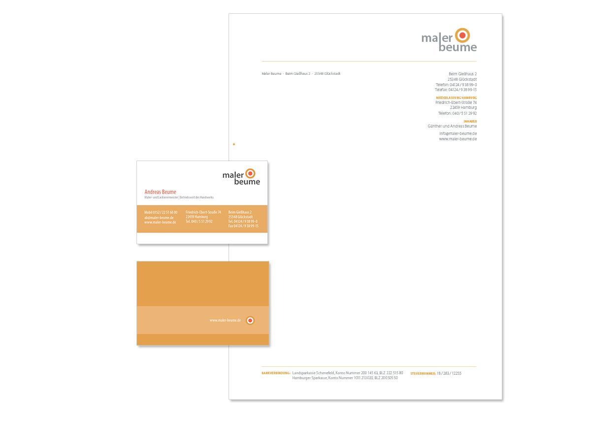Geschäftsaustattung, Visitenkarte und Unternehmensdesign für Maler Beume von Doris Peiter