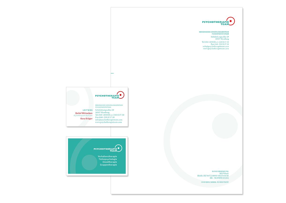 Geschäftsaustattung und Unternehmensdesign für das Psychotherapieteam Osterstraße von Doris Peiter