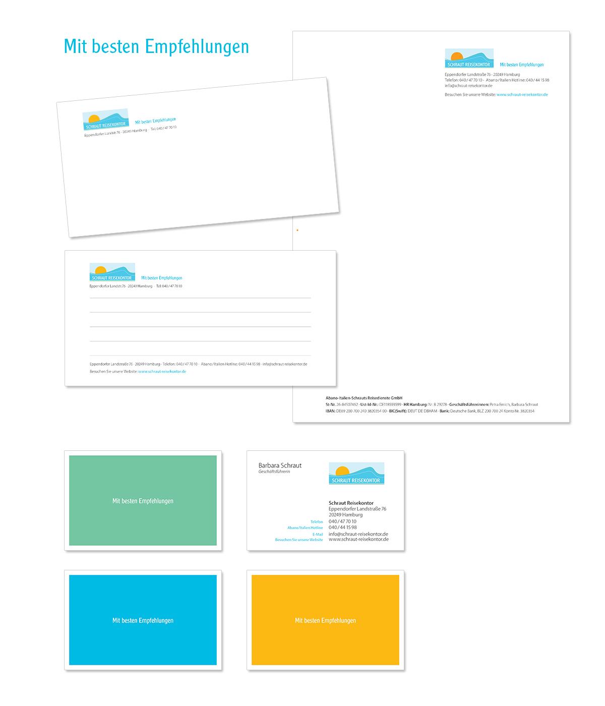 Geschäftsaustattung, Visitenkarte und Unternehmensdesign für Schraut Reisekontor von Doris Peiter