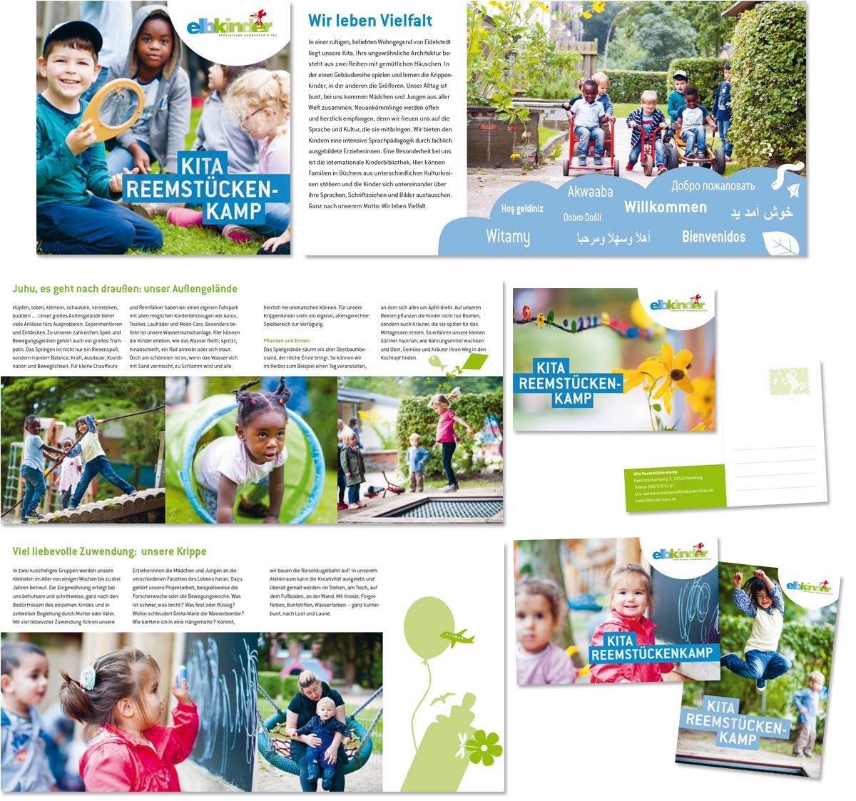 Broschüre, Plakat und Postkarten für die Kita Reemstückenkamp