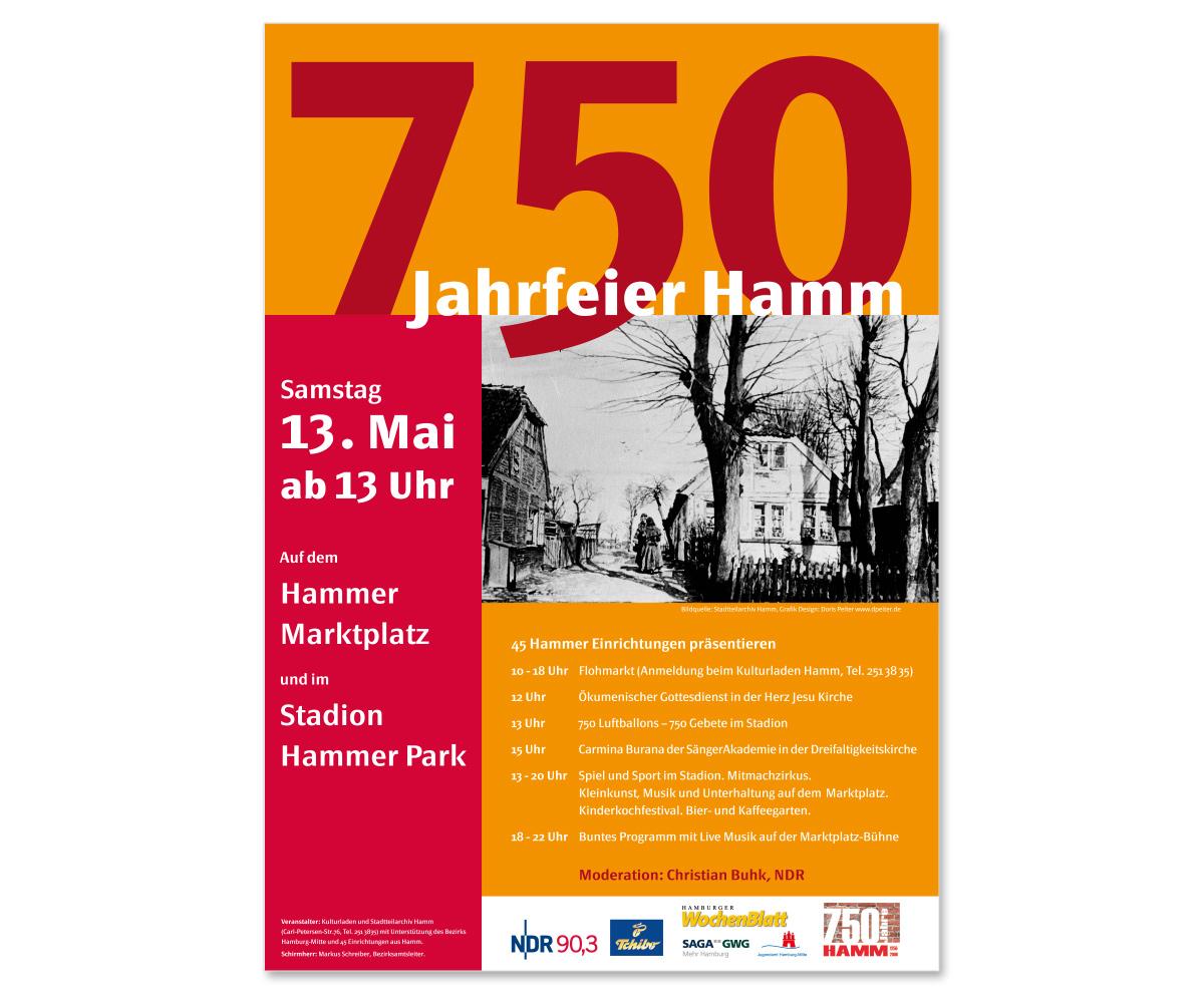 Werbedesign Plakatdesign zum Jubiläum 750 Jahre Hamm
