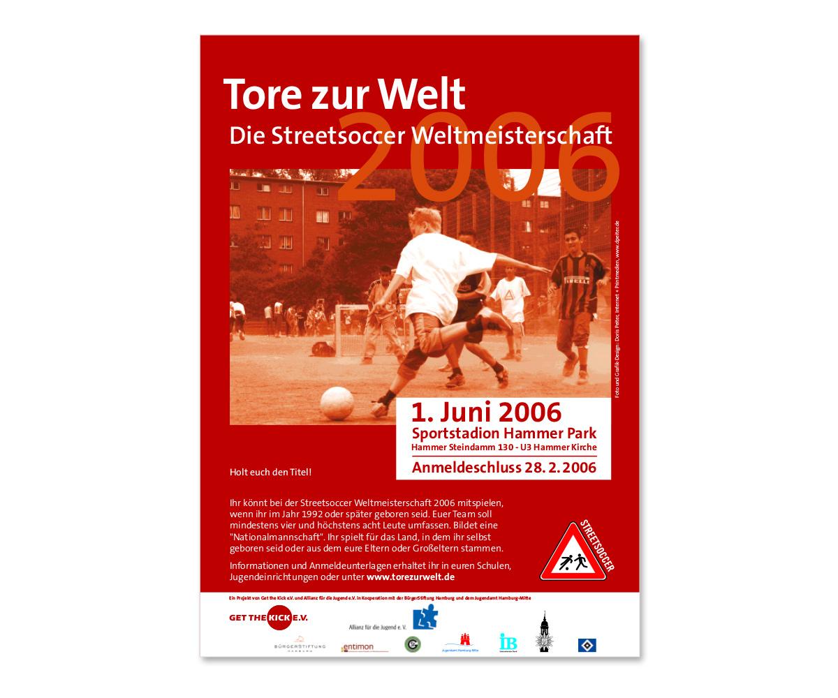 Werbedesign Plakatdesign zur Streetsoccer Weltmeisterschaft von Get the Kick e.V.