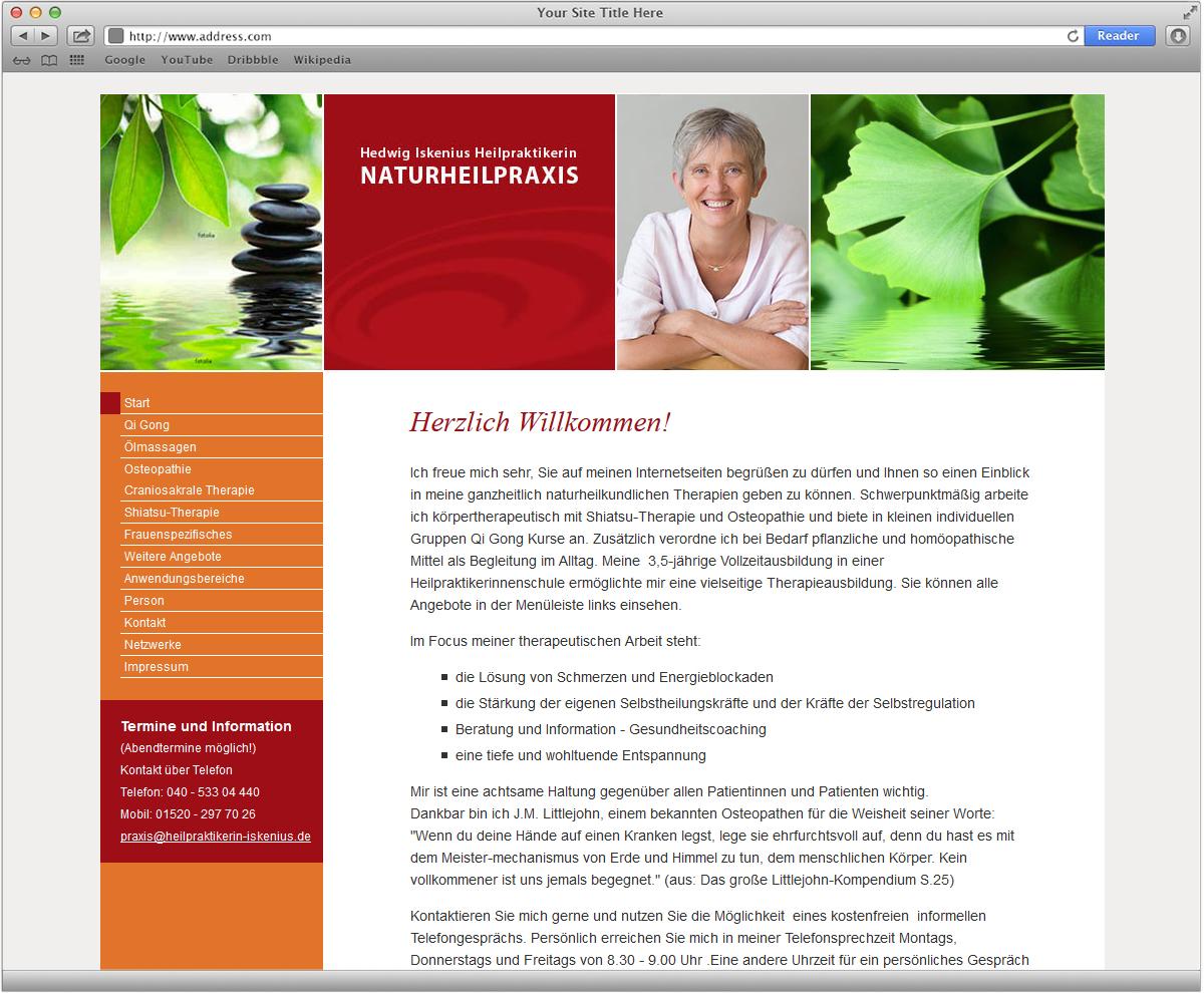 Webdesign und Fotorecherche für Naturheilpraxis Hedwig Iskenius