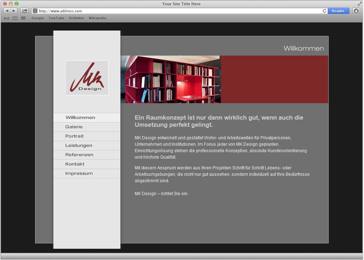 Internetpräsenz für MK Design von Doris Peiter