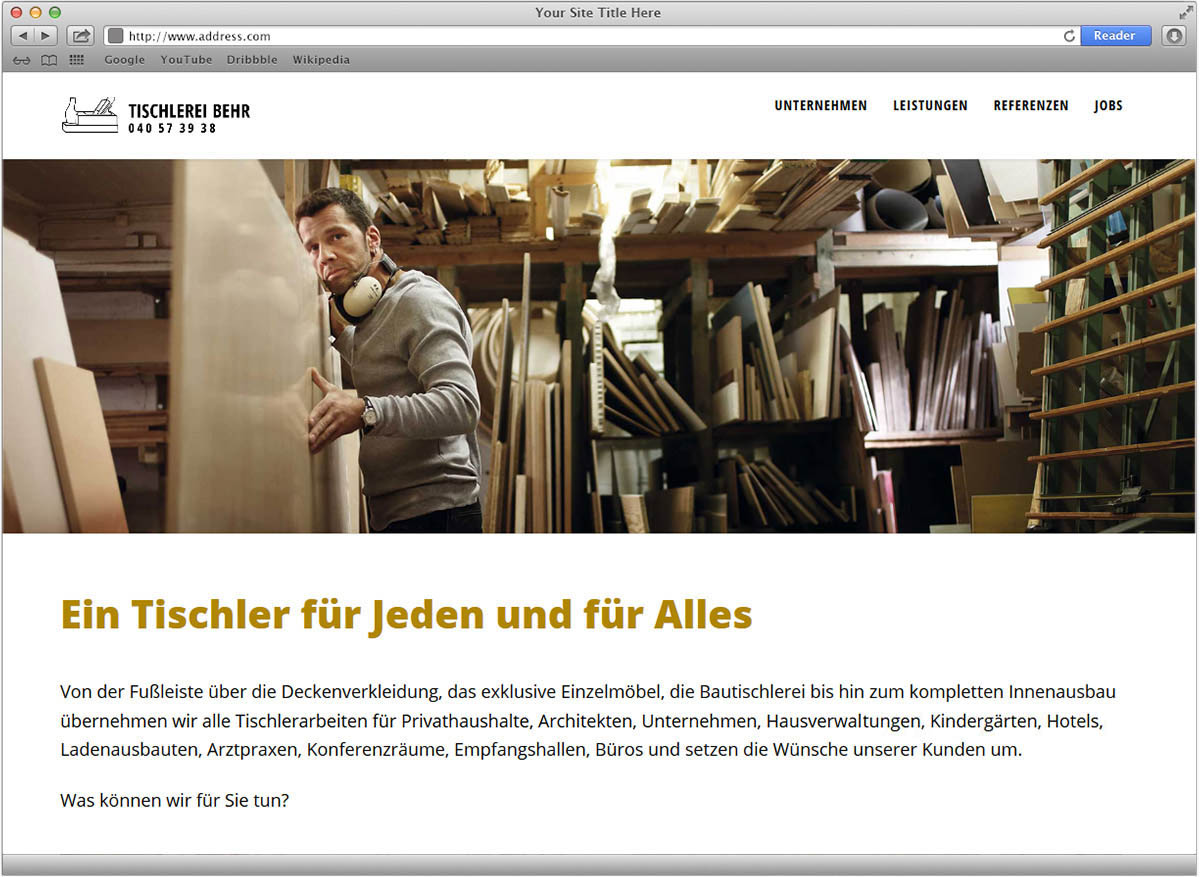 Webdesign und Umsetzung für die Tischlerei Behr