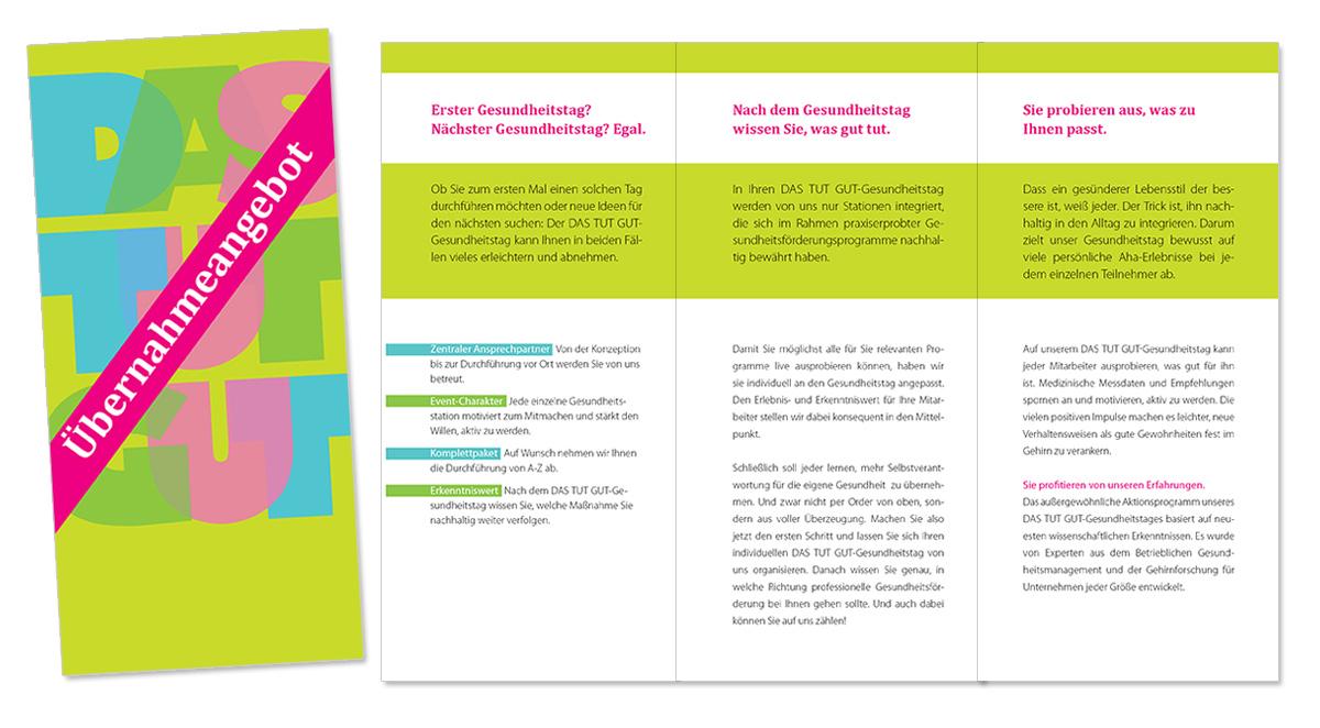Flyerdesign, Faltblatt, Broschüre für Das Tut Gut Gesundheitsmobil von Doris Peiter