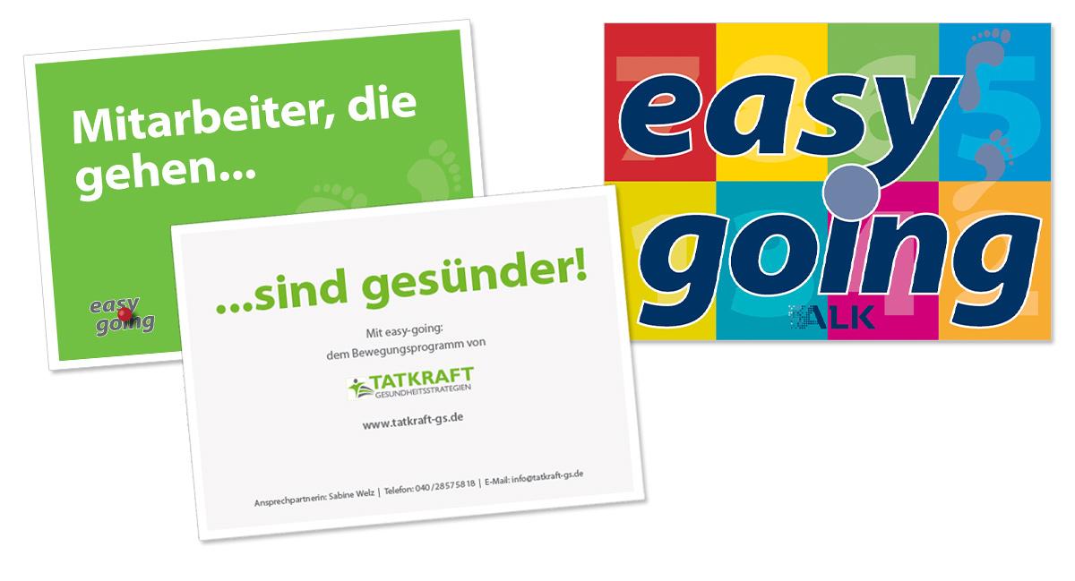 Flyerdesign, Faltblatt, Broschüre für Tatkraft Gesundheitsstrategien Aktion EasyGoing von Doris Peiter