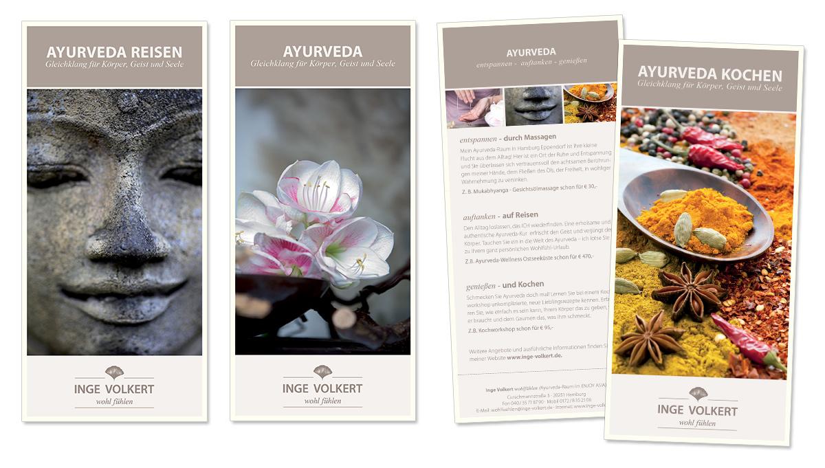 Faltblatt Werbedesign für Inge Volkert - wohl fühlen mit Ayurveda von Doris Peiter
