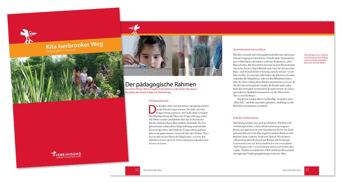 Flyerdesign, Faltblatt, Broschüre für Kita Iserbrooker Weg von Doris Peiter