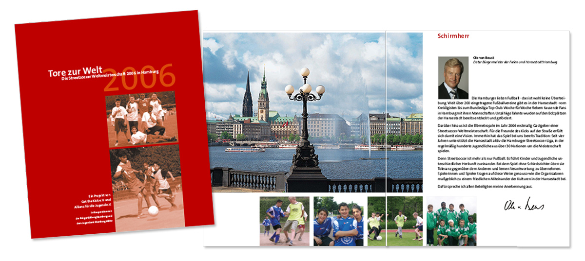 Flyerdesign, Faltblatt, Broschüre für Get the Kick Streetsoccer von Doris Peiter