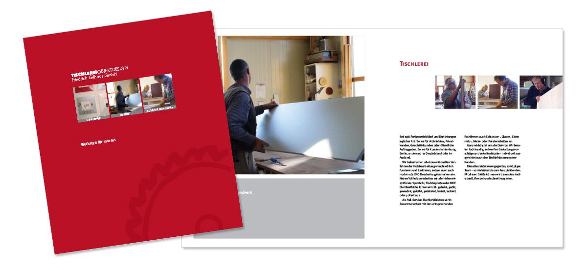 Flyerdesign, Faltblatt, Broschüre für die Tischlerei Gillhaus von Doris Peiter