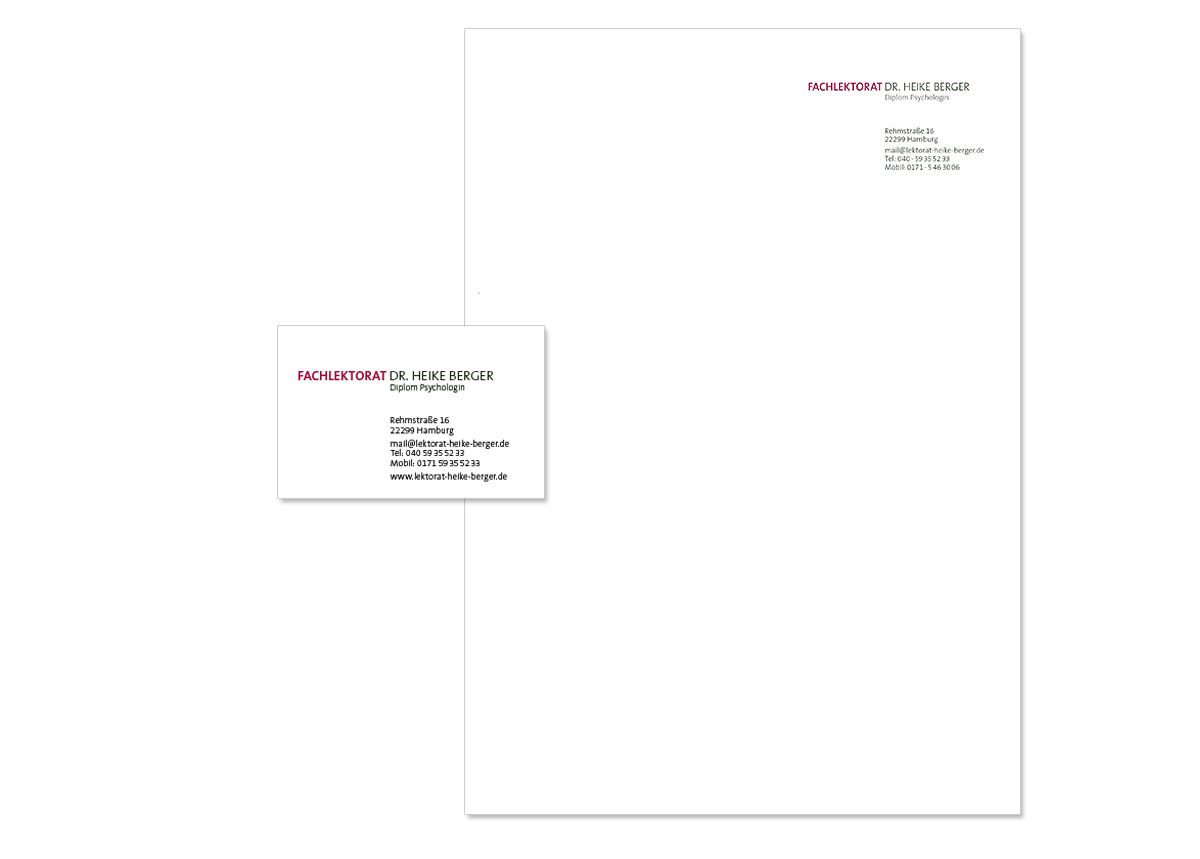 Geschäftsaustattung und Unternehmensdesign für das Fachlektorat Heike Berger von Doris Peiter