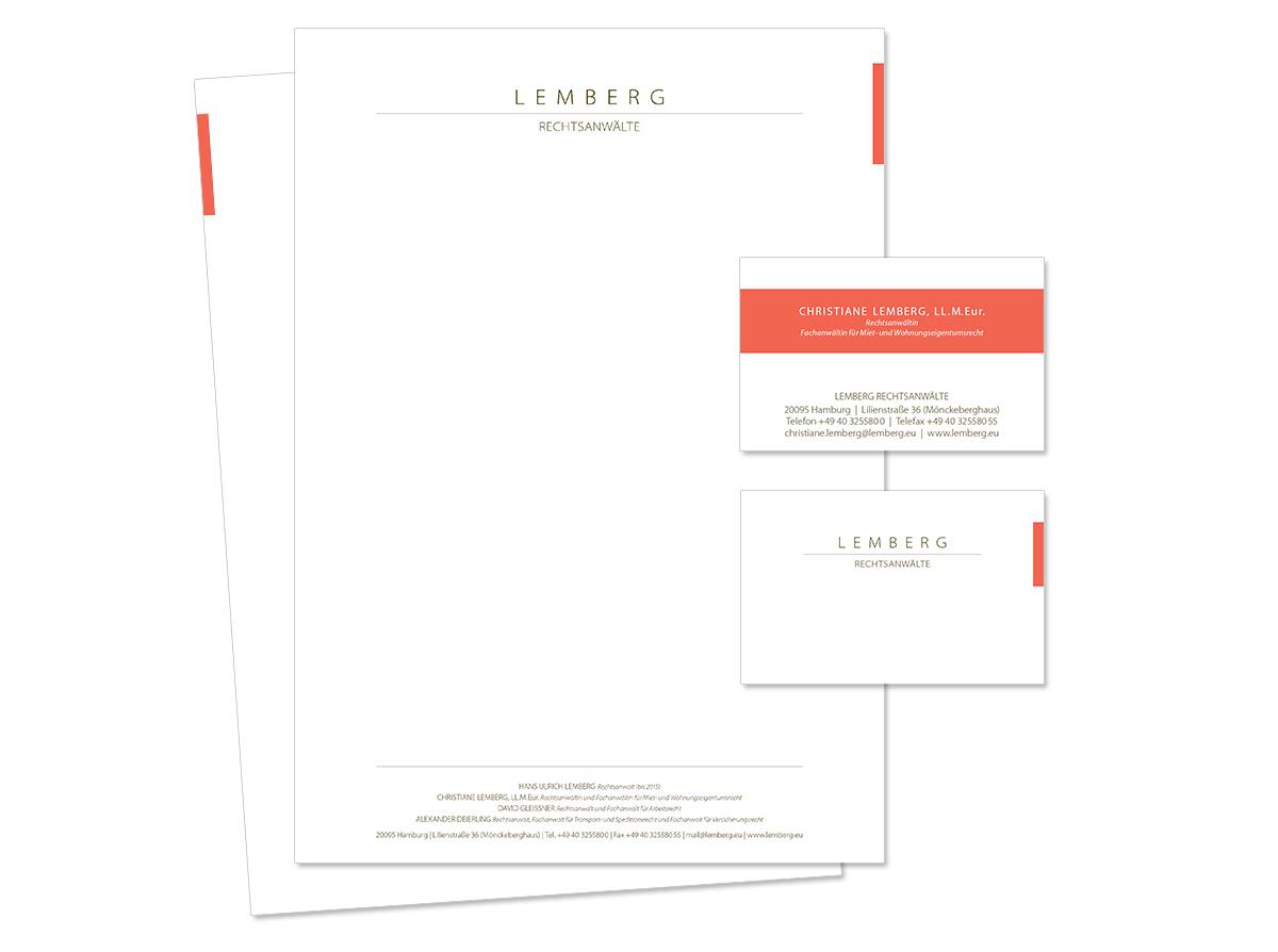 Geschäftsaustattung, Visitenkarte und Unternehmensdesign für Lemberg Rechtsanwälte von Doris Peiter