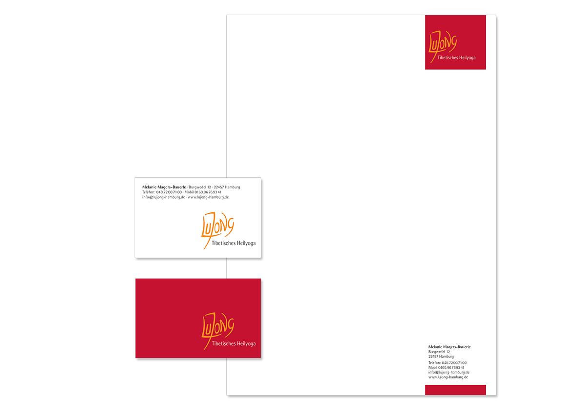 Geschäftsaustattung und Unternehmensdesign für Lujong Heilyoga von Doris Peiter