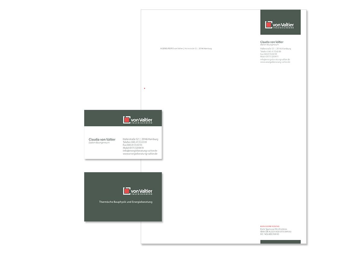 Geschäftsaustattung, Briefpapier und Unternehmensdesign für das Ingeneursbüro von Valtier von Doris Peiter