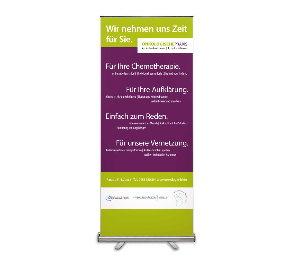 Roll-Up Banner, Werbedesign für Dr Marxsen Praxis für Onkologie von Doris Peiter