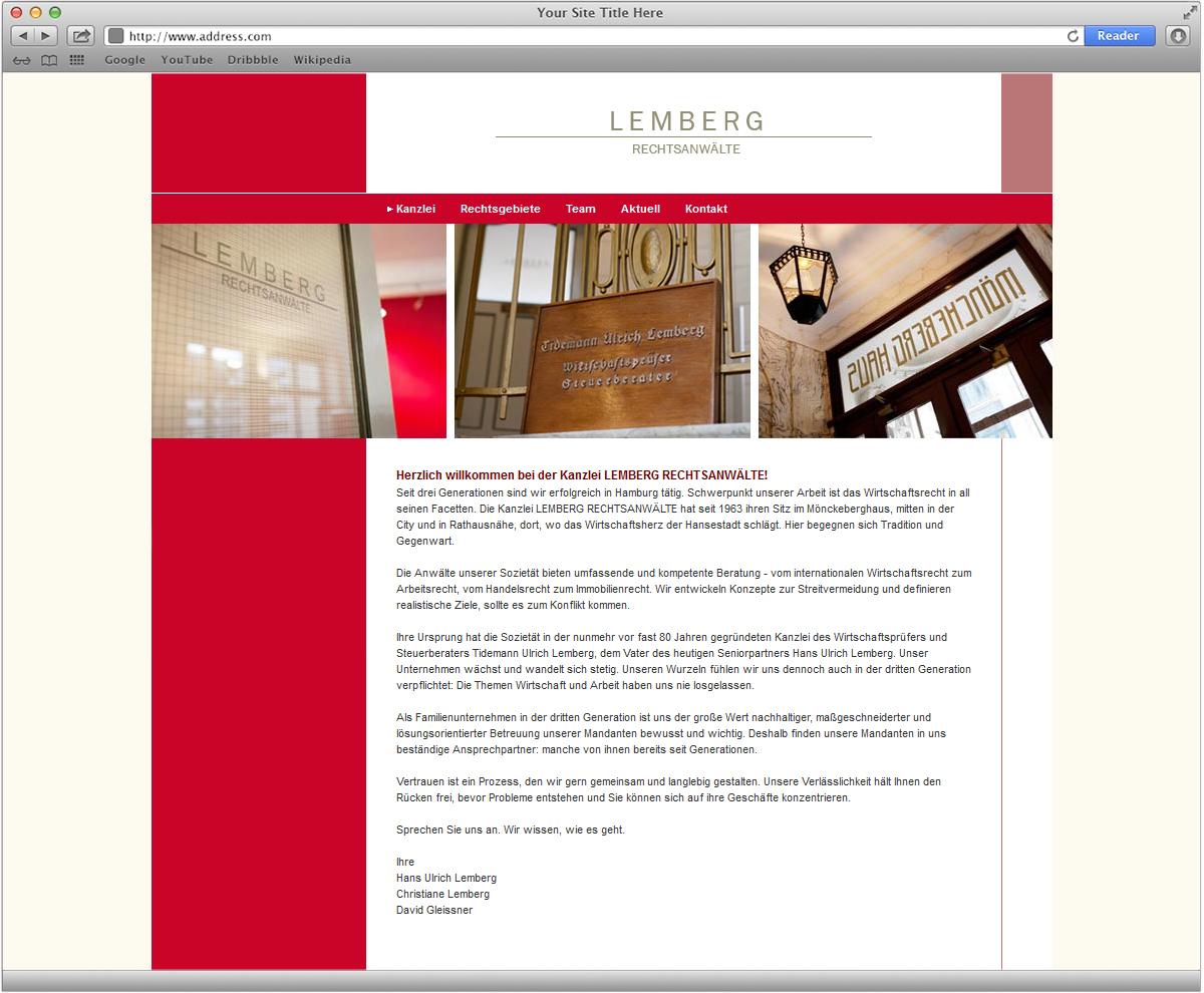 Website, Corporate Design, Internetauftritt für Rechtsanwälte Lemberg