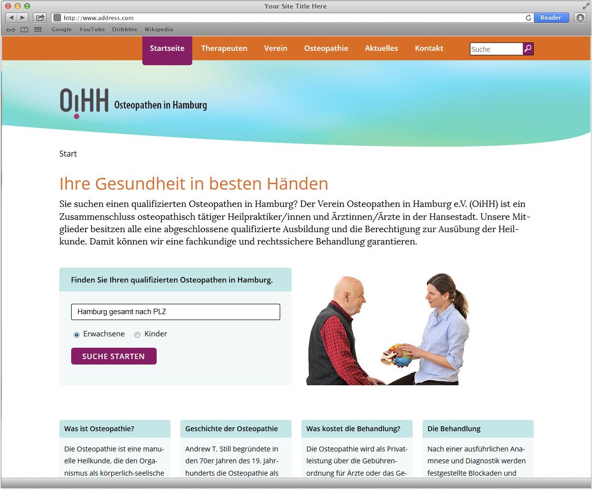 Internetauftritt mit Suchfunktion für den OiHH - Osteopathen in Hamburg von Doris Peiter
