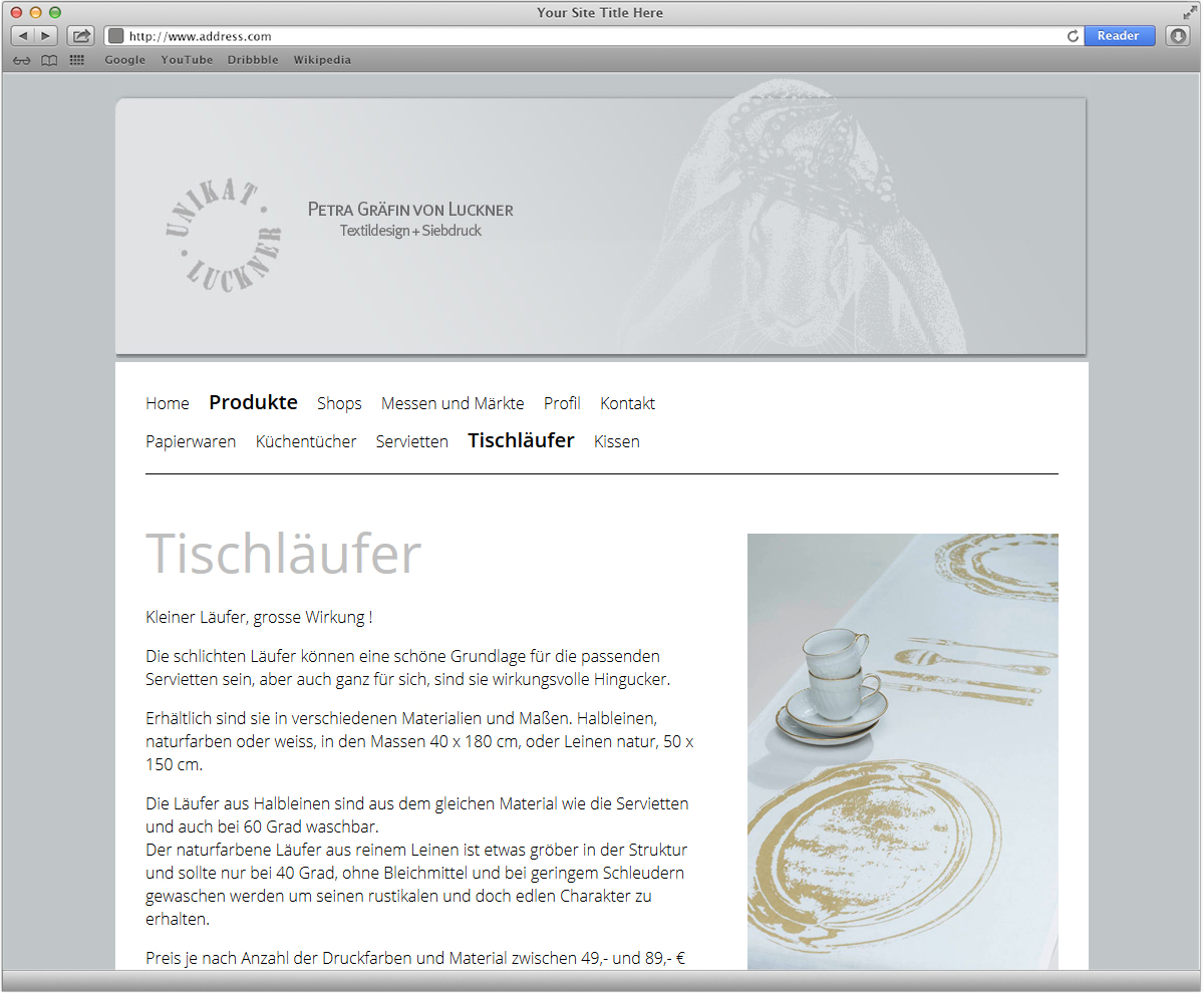 Internetpräsenz Unikat Luckner, Webdesign, Webseite