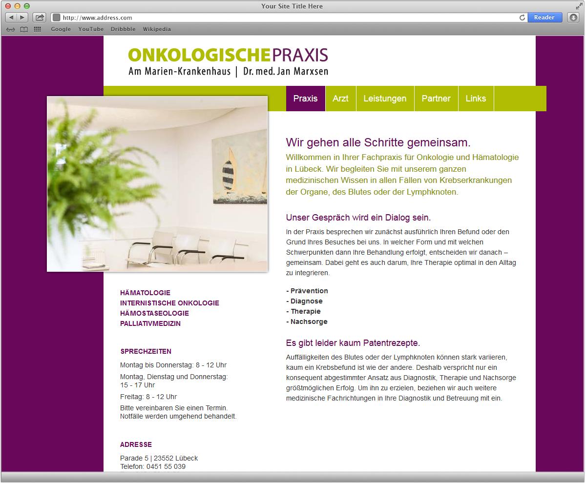 Webseite für Dr Marxen Onkologie Praxis von Doris Peiter