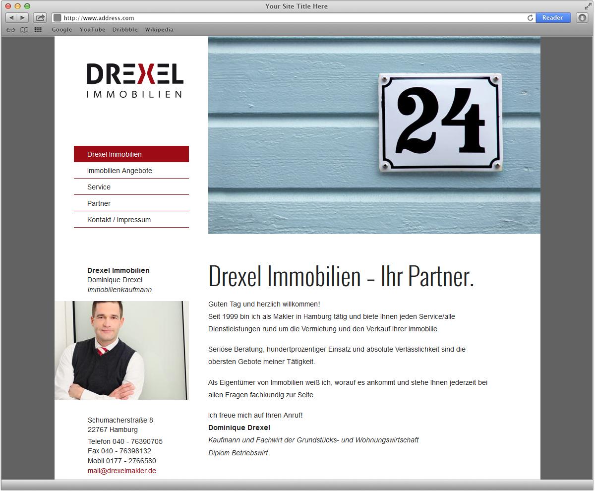 Internetdesign für Drexel Immobilien von Doris Peiter