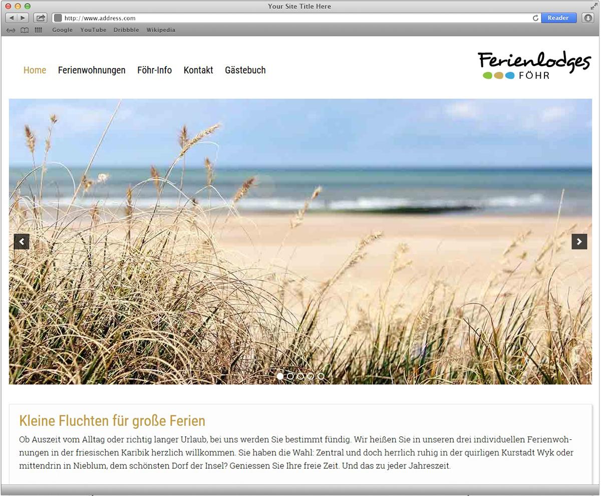 Website für Ferienlodges Föhr gestaltet von Doris Peiter
