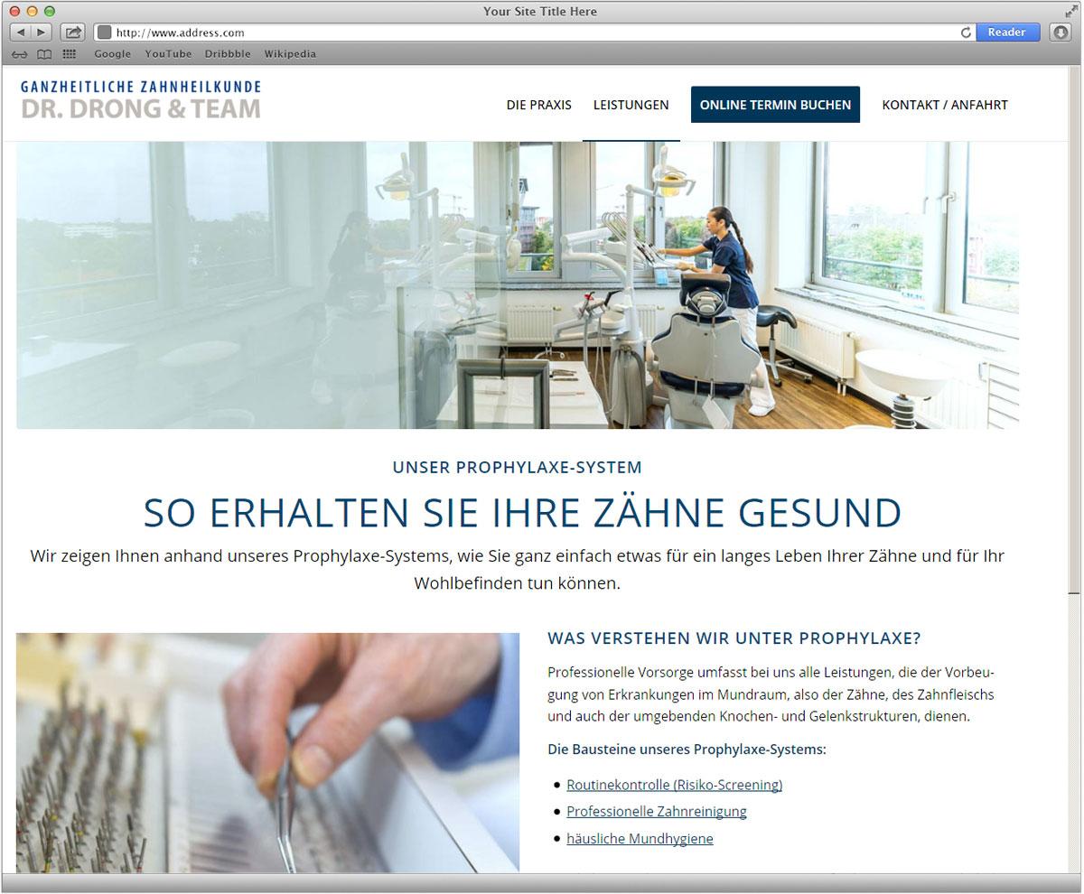 Website Dr. Drong, Zahnarzt