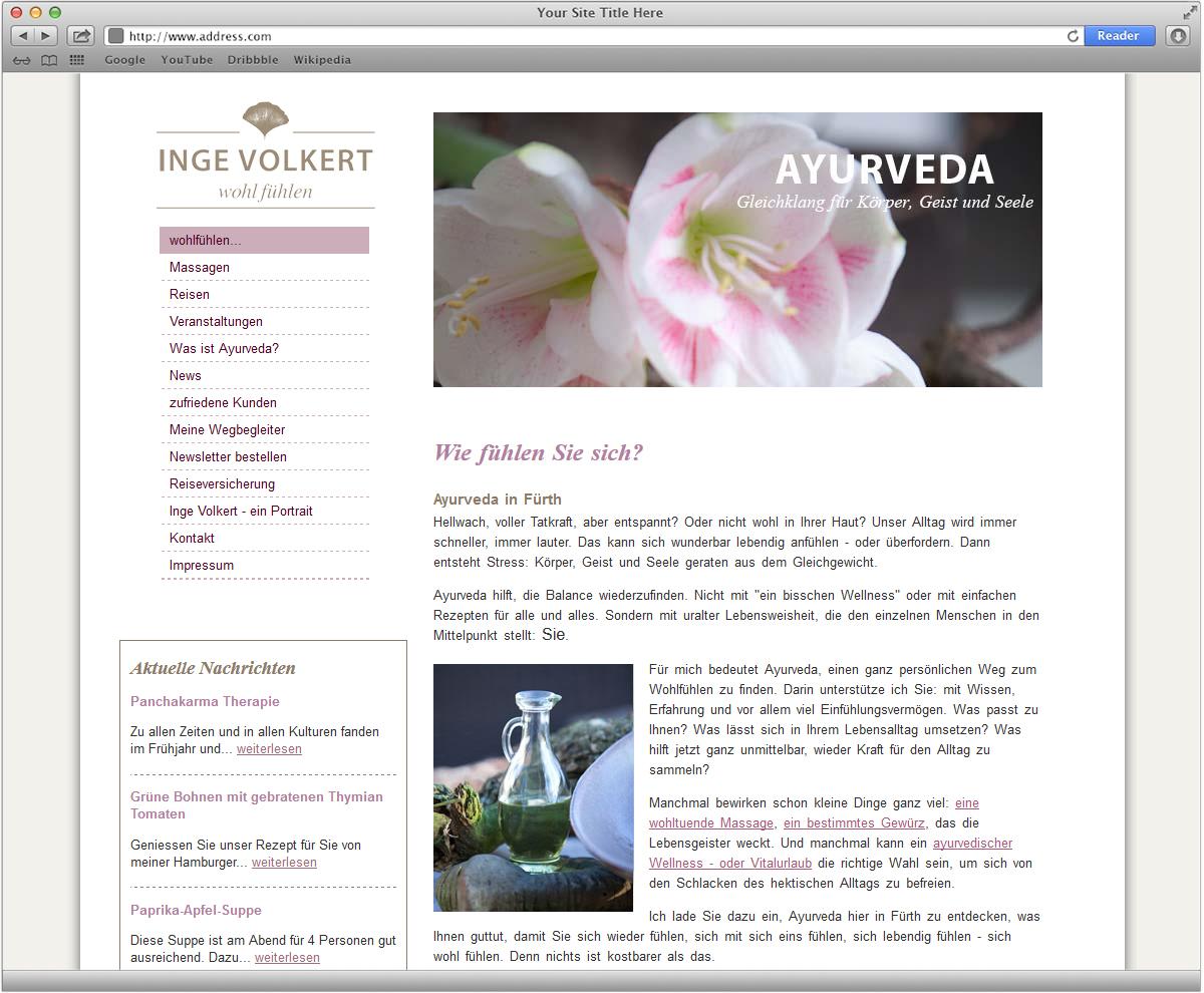 Website für Inge Volkert - wohl fühlen gestaltet von Doris Peiter