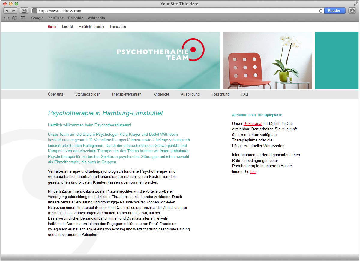 Webauftritt für das Psychotherapieteam gestaltet von Doris Peiter