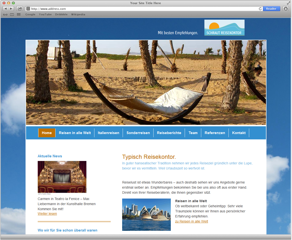 Webseitendesign für Schraut Reisekontor von Doris Peiter