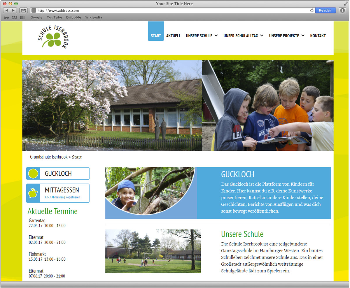 Schule iserbrook website grafikdesign f r website for Grafikdesign schule