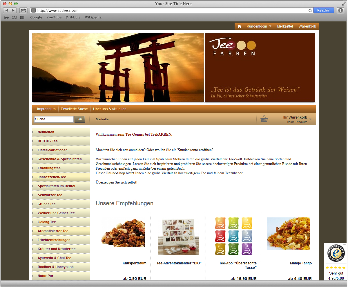 Webdesign und Webshop für TEEfarben von Doris Peiter