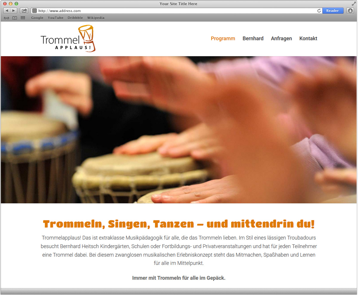 Internetpräsenz für Bernhard Heitsch Trommelapplaus von Doris Peiter